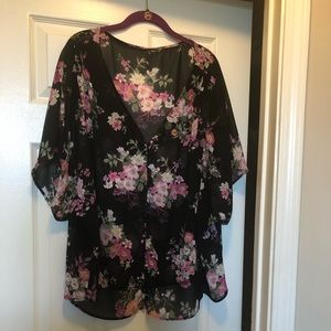 Plus size floral button up top